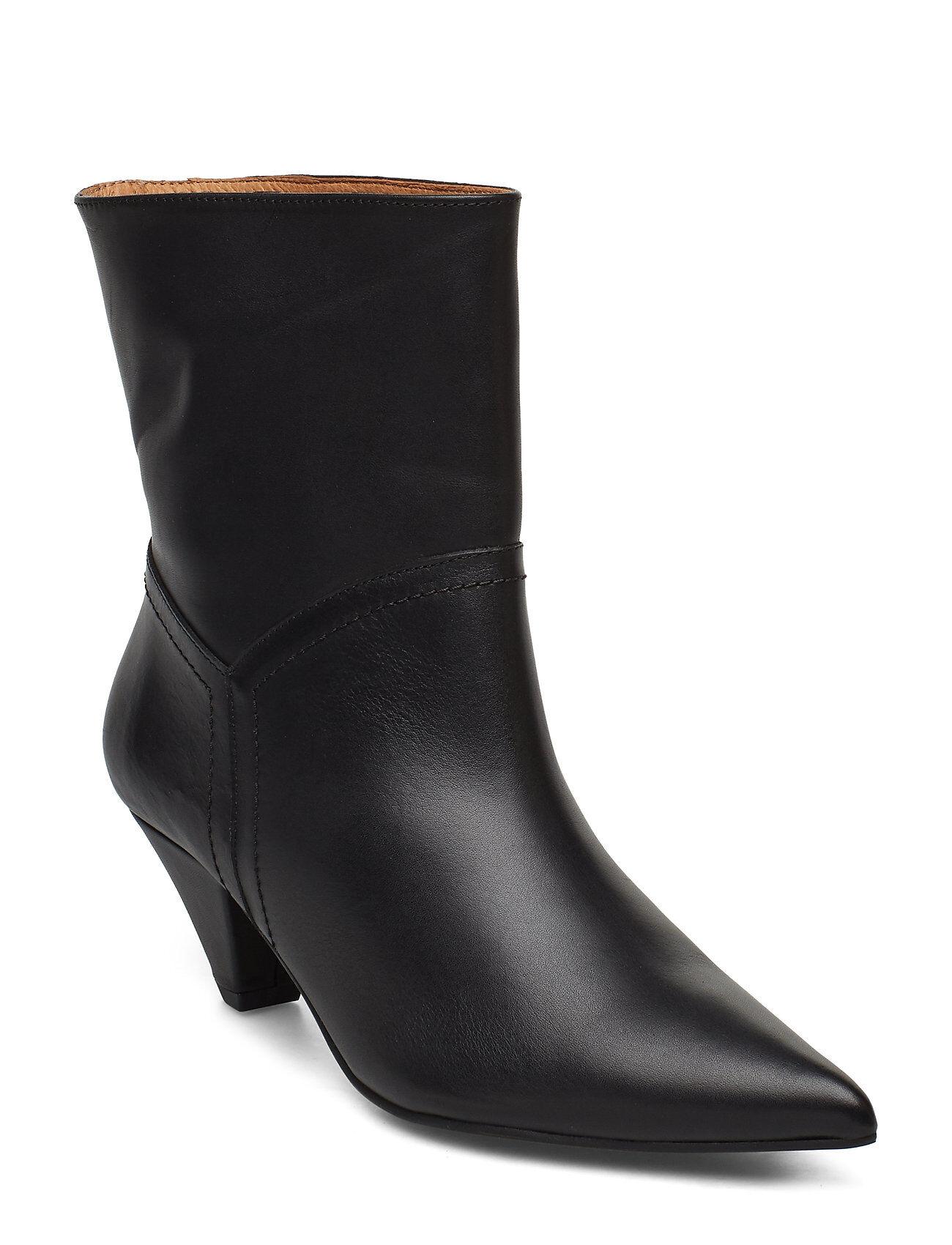 Henry Kole Selena Leather Black Shoes Boots Ankle Boots Ankle Boots With Heel Musta Henry Kole