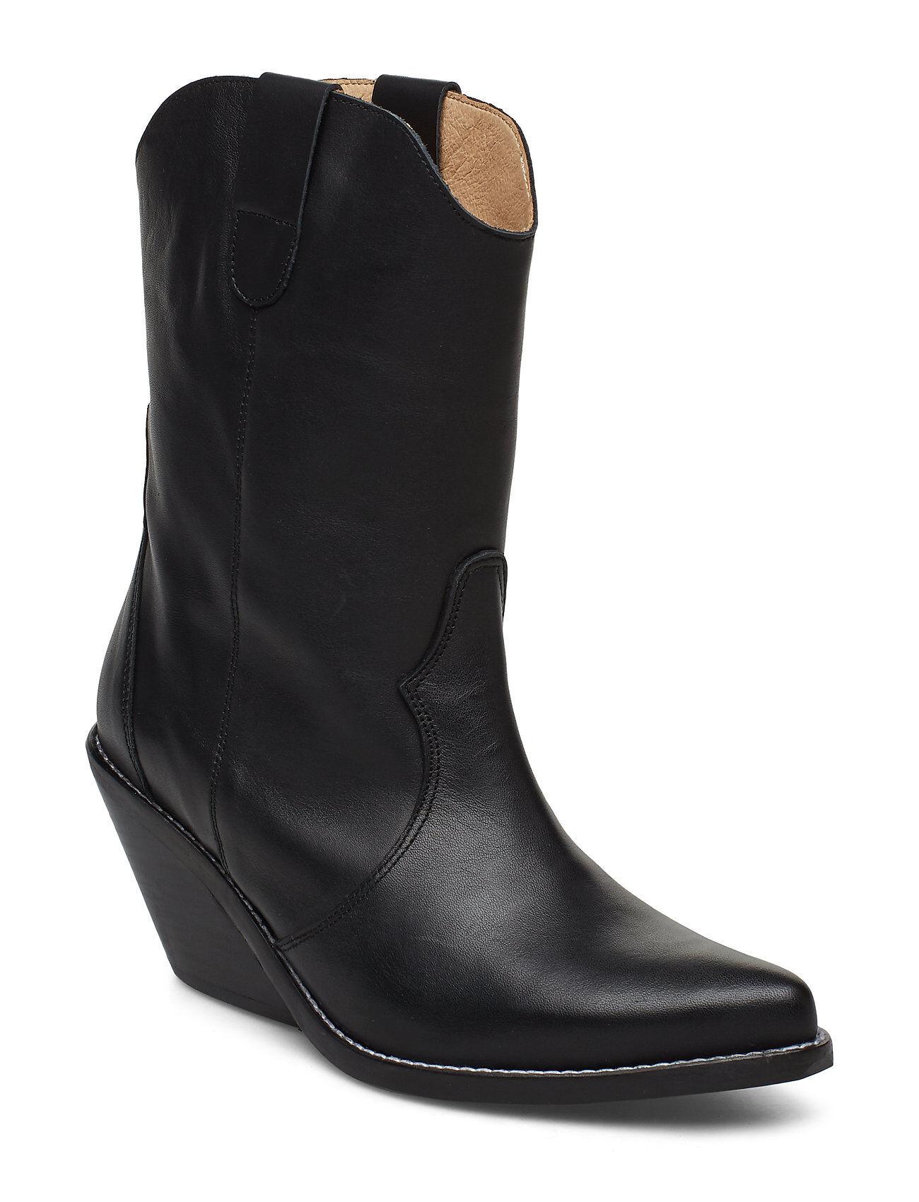 Henry Kole Livia Leather Black Shoes Boots Ankle Boots Ankle Boots With Heel Musta Henry Kole