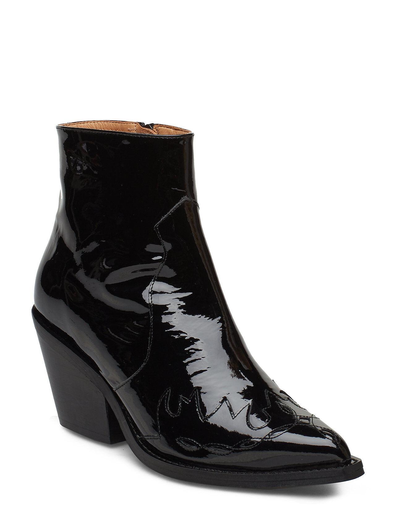 Henry Kole Lynn Patent Black Shoes Boots Ankle Boots Ankle Boots With Heel Musta Henry Kole