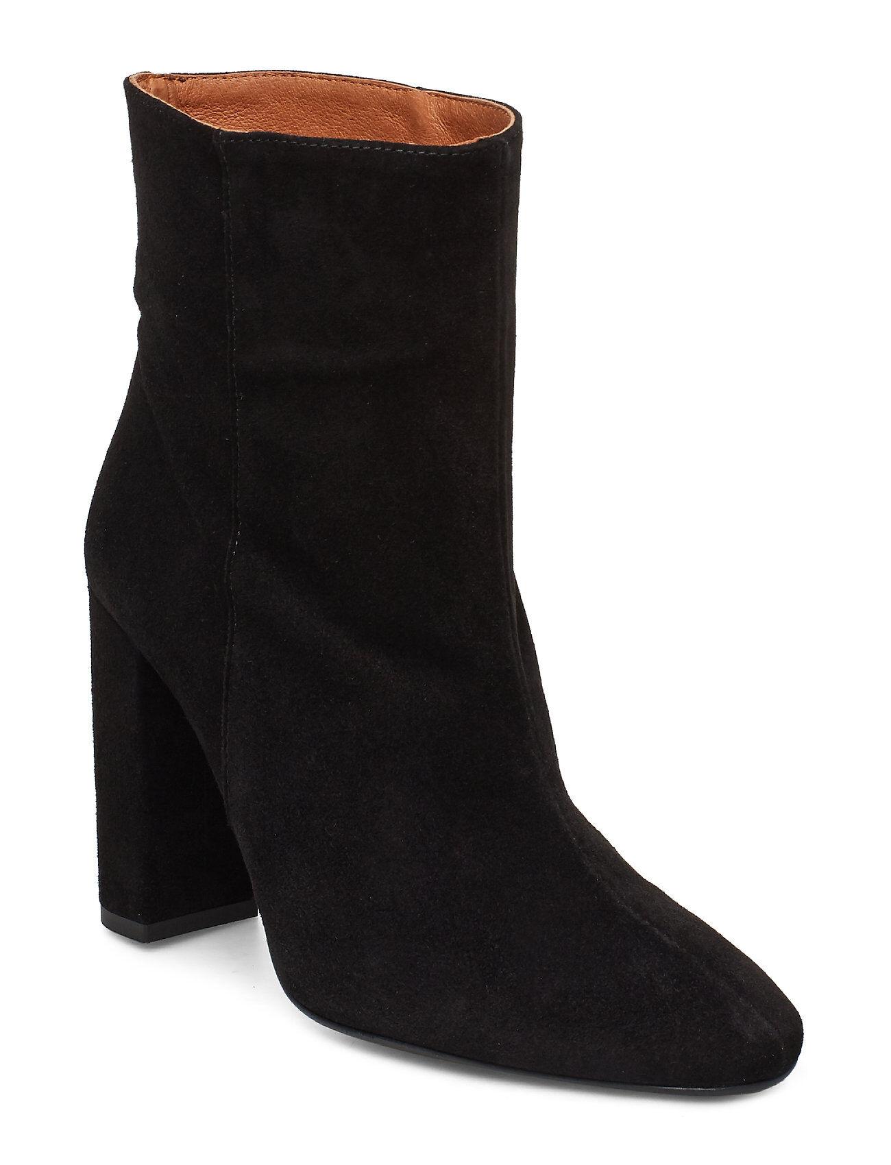 Henry Kole Joan Suede Black Shoes Boots Ankle Boots Ankle Boots With Heel Musta Henry Kole