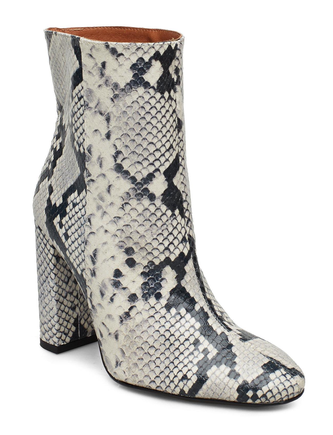 Henry Kole Joan Snake Grey Shoes Boots Ankle Boots Ankle Boots With Heel Valkoinen Henry Kole