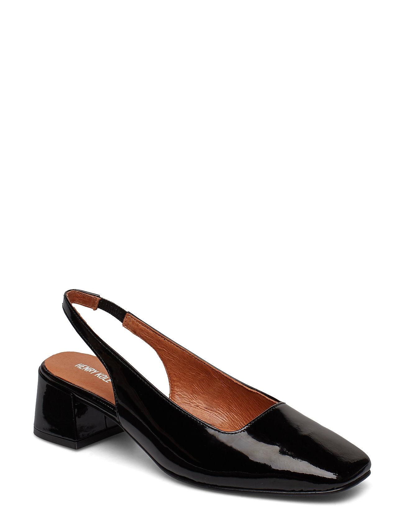 Henry Kole Tess Patent Shoes Heels Pumps Sling Backs Musta Henry Kole
