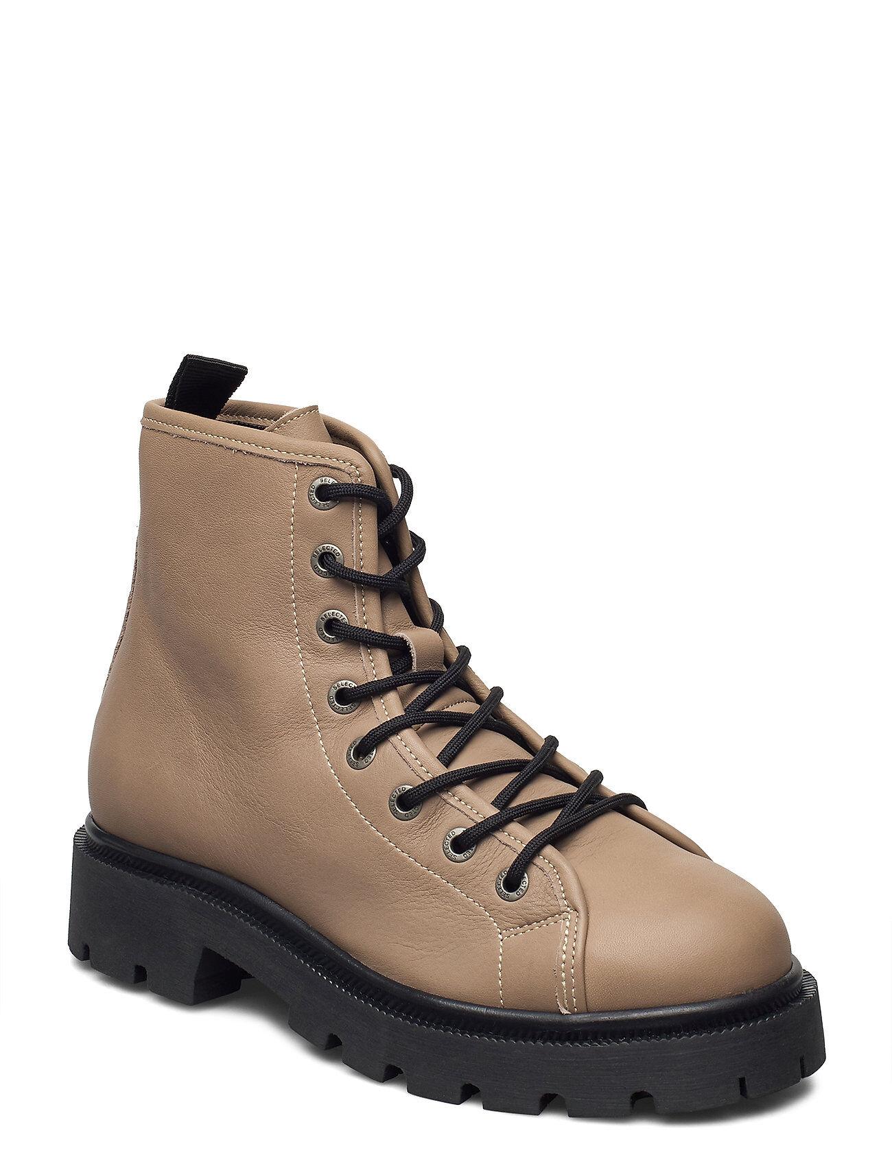 Selected Femme Slfemma Laceup Leather Boot B Nauhakengät Matalapohjaiset Kengät Ruskea Selected Femme