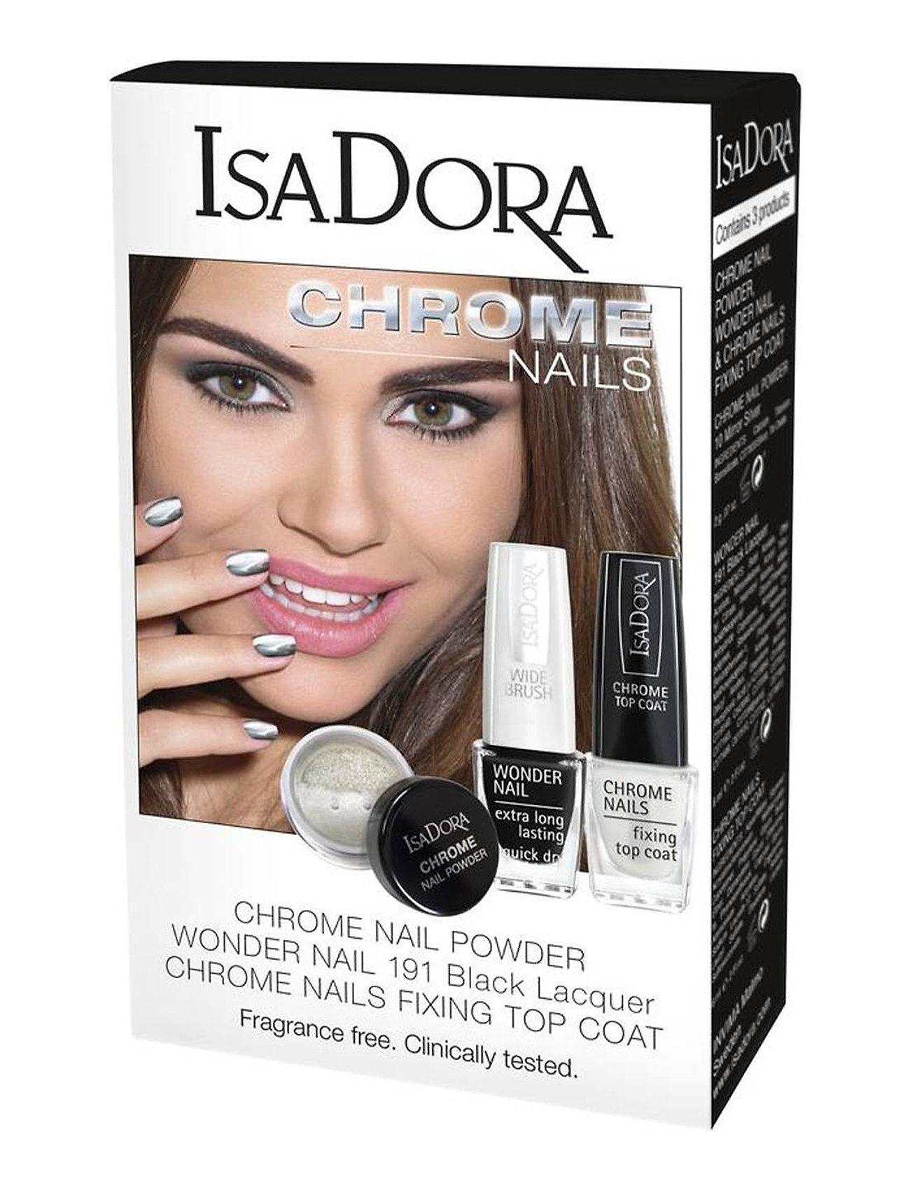 Isadora X-Mas Gift Set Gift Set Chrome Nail Powder,Mirror&Top Coat Meikkisetti Meikki Isadora