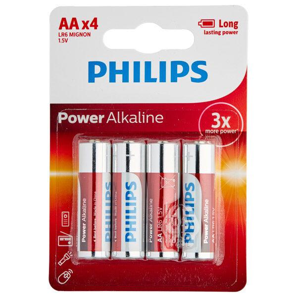 Batterier Philips LR06 AA Alkaliparistot 4 kpl