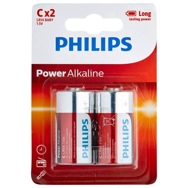 Batterier Philips LR14 C Alkaliparistot 2 kpl