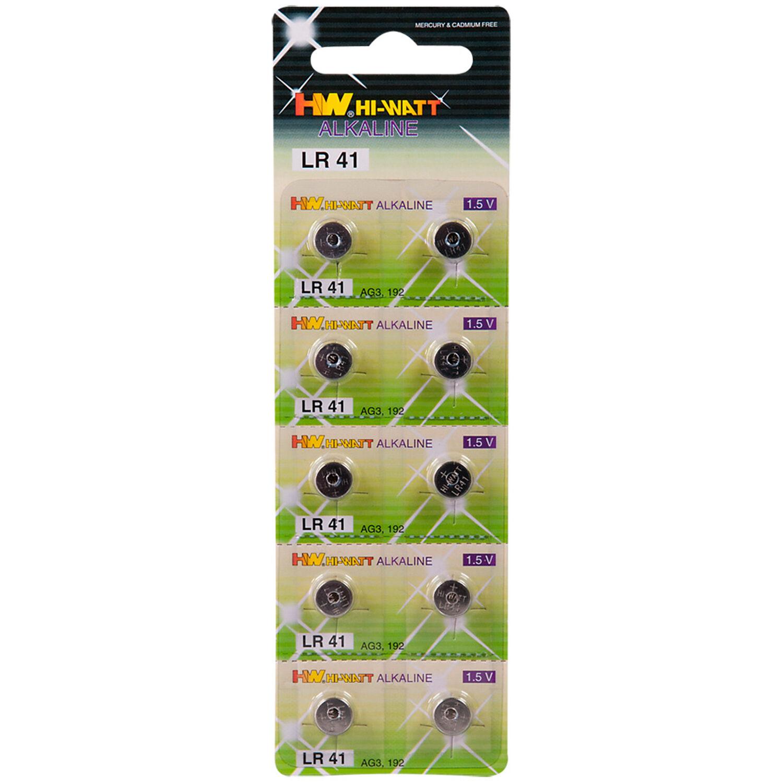 Batterier Hi-Watt Alkaliparistot AG3 - LR41 10 kpl