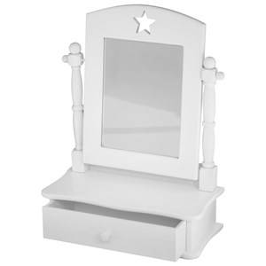 Kids Concept Girls Furniture White White Wooden Vanity Mirror with Drawer