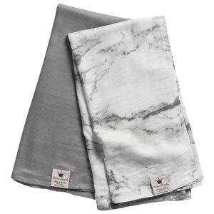Image of Elodie Details Unisex Textile Grey 2-Pack Bamboo Muslin Blanket Marble Grey