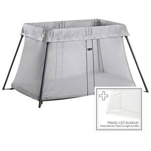 Babybjörn Unisex Furniture Silver Travel Cot Bundle With Fitted Sheet