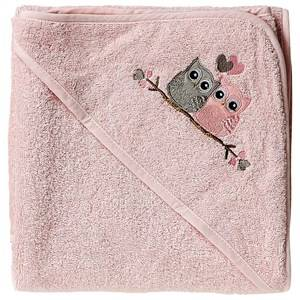 Baby Dan Girls Norway Assort Textile Pink Love Birds Hooded Bath Towel Pink