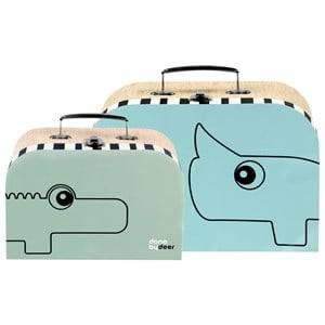 Done by Deer Unisex Storage Green Suitcase Set 2 Pieces Blue/Green