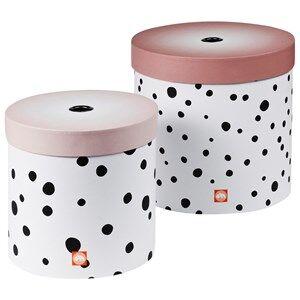 Done by Deer Unisex Storage Pink Happy Dots Round Box Set 2 Pieces Powder