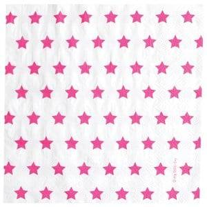 My Little Day Unisex Tableware Pink 20 Paper Napkins - Bright Pink Stars