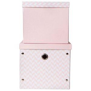 Vinter & Bloom Unisex Storage Pink Herringbone Storage Boxes Cameo Pink
