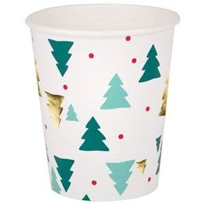 My Little Day Unisex Tableware Green 8 Paper Cups - Christmas Trees