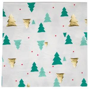 My Little Day Unisex Tableware Green 16 Paper Napkins - Christmas Trees