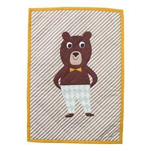 ferm LIVING Unisex Textile Multi Bear Quilted Blanket