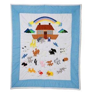 oskar&ellen; Unisex Textile Blue Cot Quilt Noahs Ark