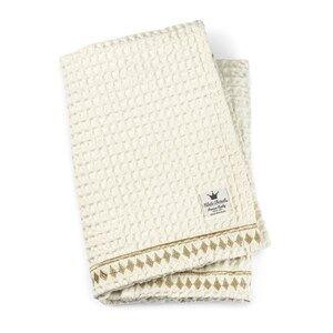 Elodie Details Unisex Textile Gold Cotton Waffle Blanket Vanilla White