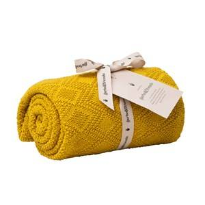 garbo&friends; Unisex Textile Ollie Mustard Cotton Blanket