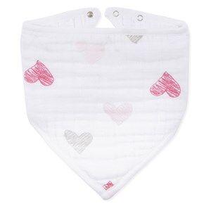 Aden + Anais Unisex Baby feeding White Lovebird Heart Classic Snap Bib