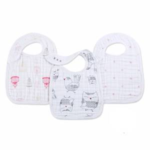 Aden + Anais Unisex Baby feeding White 3 Pack of Classic Lovebird Snap Bibs