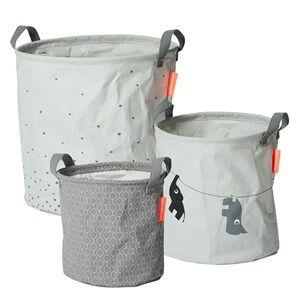 Done by Deer Unisex Norway Assort Storage Grey 3 Piece Soft Storage Baskets Grey