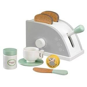 Kids Concept Unisex Role play White Toy Toaster Set White/Grey