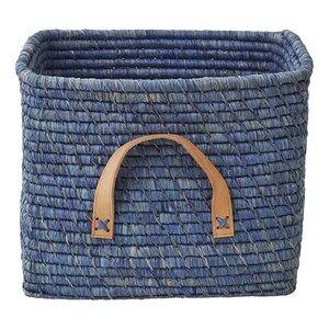 Rice Unisex Storage Blue Small Square Raffia Basket Leather Handles Blue