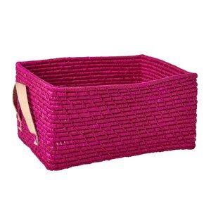 Rice Unisex Storage Pink Rectangular Raffia Basket with Leather Handles Fuchsia