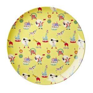 Rice Boys Norway Assort Tableware Yellow Melamine Lunch Plate Yellow Circus Print