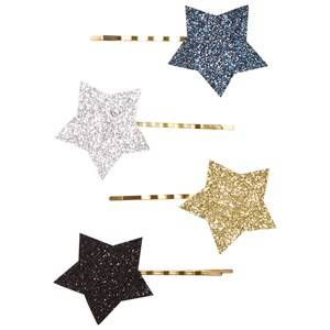 Image of Molo Unisex Hair accessories Gold 4-Pack Star Hair Clips Silver