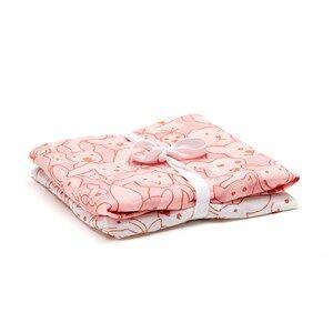 Kids Concept Girls Textile Pink 2-Pack Muslin Blanket Edvin Pink/White