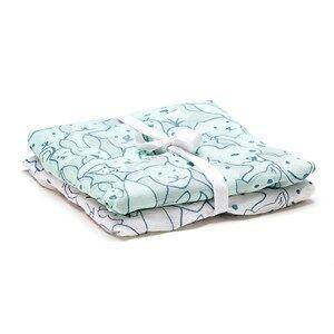 Kids Concept Boys Textile Green 2-Pack Muslin Blanket Edvin Green/Whiteit