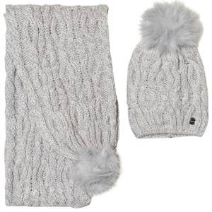 Mayoral Girls Winter sets Grey Grey Chunky Knit Pom Pom Hat and Scarf Set