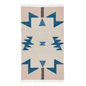ferm LIVING Unisex Textile Blue Kelim Rug Blue Triangles Small