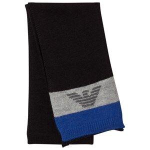 Giorgio Armani Junior Boys Scarves Blue Blue Grey Logo Scarf