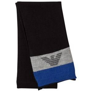 Giorgio Armani Junior Boys Scarves Blue Blue Grey Logo Scarf