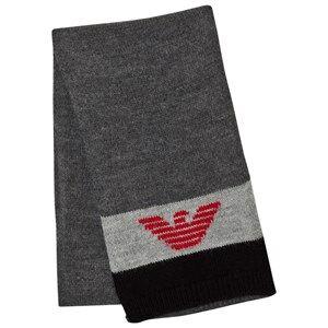 Giorgio Armani Junior Boys Scarves Black Black Grey Logo Scarf