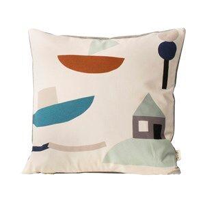 ferm LIVING Unisex Textile White Seaside Cushion - Off-white