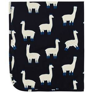 Tinycottons Unisex Textile Blue Llamas Blanket Dark Navy/Beige