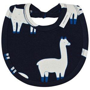 Tinycottons Unisex Baby feeding Blue Llamas Bib Dark Navy/Beige