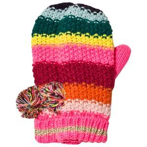 Le Big Girls Gloves and mittens Pink Multi Stripe Knitted Mittens