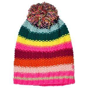 Le Big Girls Scarves Pink Multi Stripe Knitted Bobble Hat