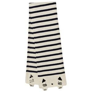 Emile et Ida Girls Scarves Beige Striped Cat Scarf Ecru
