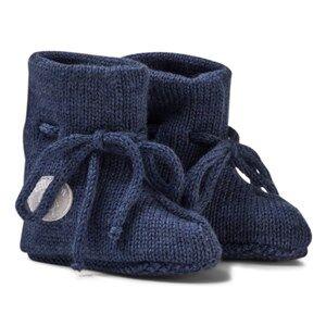 Lillelam Unisex Slippers Blue Merino Wool Baby Slippers Basic Blue