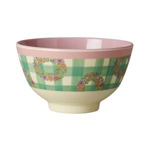 Rice Unisex Tableware Pink Melamine Bowl with Vichy Print
