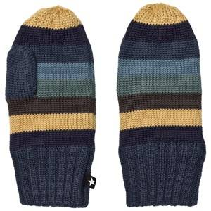 Molo Unisex Gloves and mittens Blue Snowfall Mittens Ocean Stripe