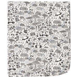 Image of The Bonnie Mob Unisex Textile Grey Panda Print Blanket Grey